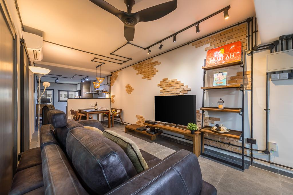 Industrial, HDB, Living Room, Telok Blangah Heights, Interior Designer, Swiss Interior Design, Modern