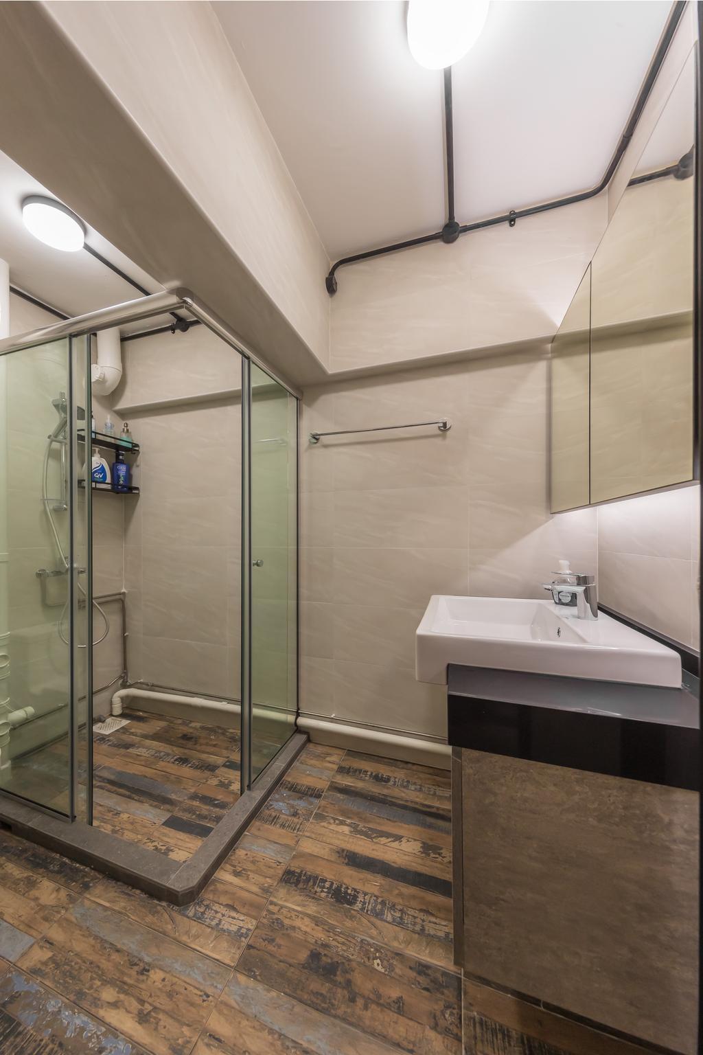 Industrial, HDB, Bathroom, Telok Blangah Heights, Interior Designer, Swiss Interior Design, Modern