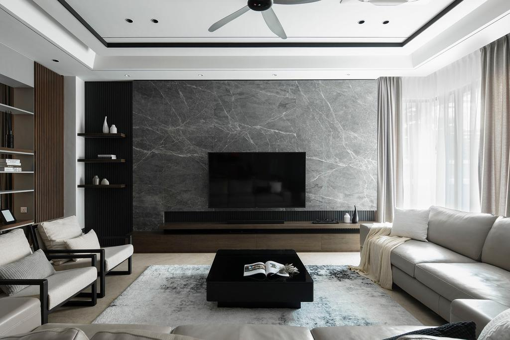 Modern, Landed, Living Room, The Modern Grandeur - Tiara Hills, Cheras, Interior Designer, Box Design Studio Sdn Bhd, Contemporary