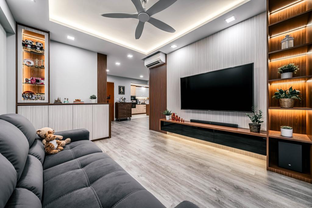 Contemporary, HDB, Living Room, Tampines North Drive 1, Interior Designer, Weiken.com