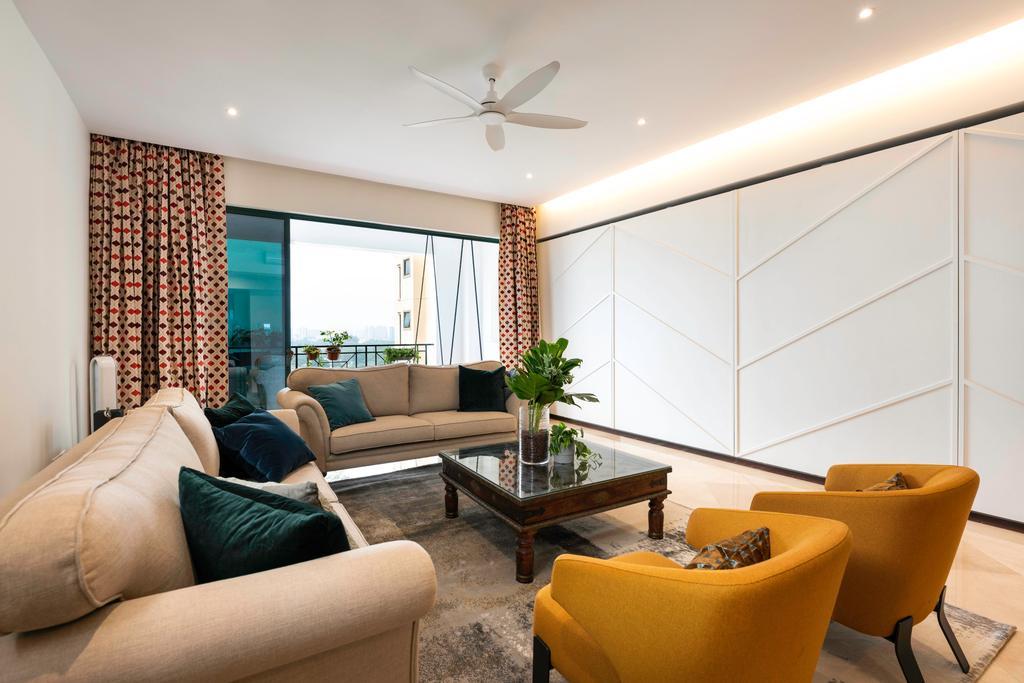 Contemporary, Condo, Living Room, Pebble Bay, Interior Designer, Livspace