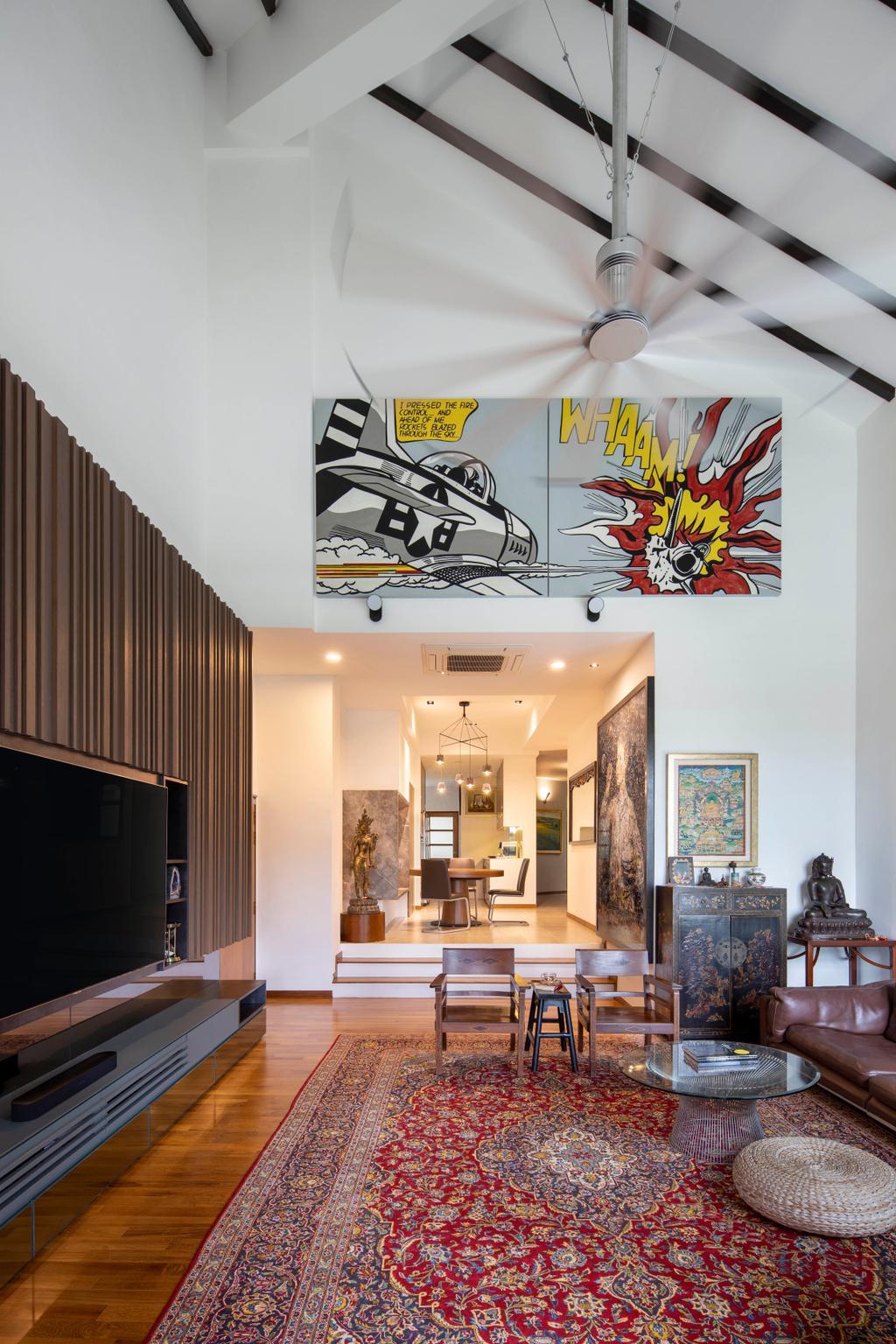 Eclectic, Condo, Living Room, Landridge Condo, Interior Designer, Prozfile Design, Retro, High Ceiling