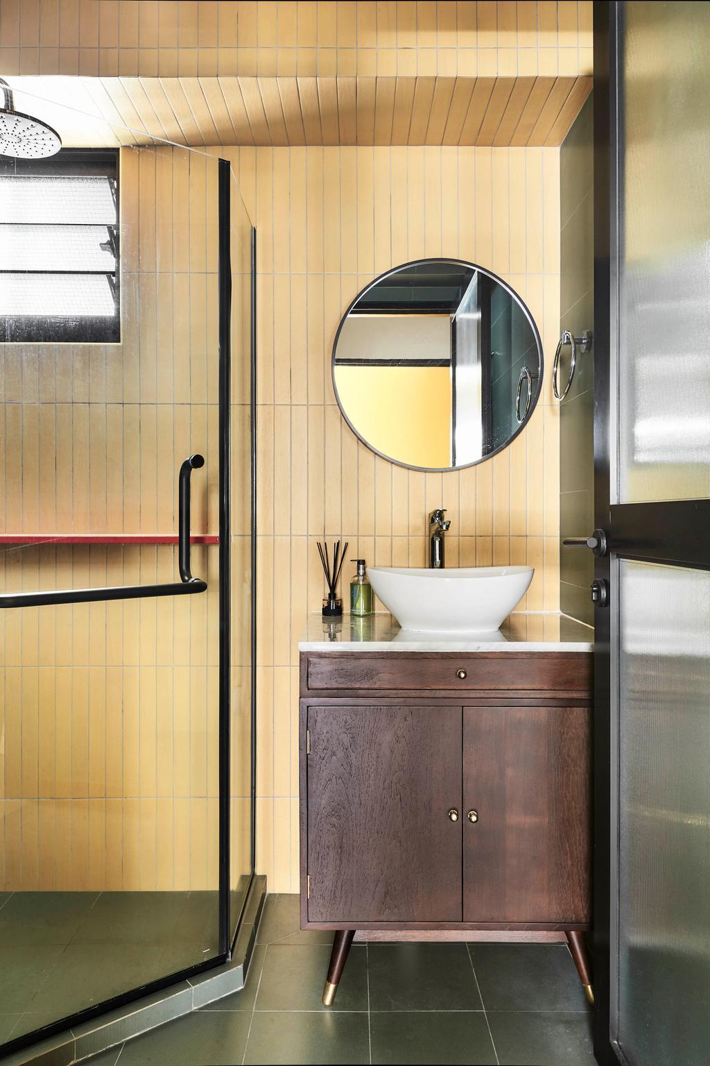 Retro, HDB, Bathroom, Tampines North Drive 1, Interior Designer, Third Avenue Studio, Yellow