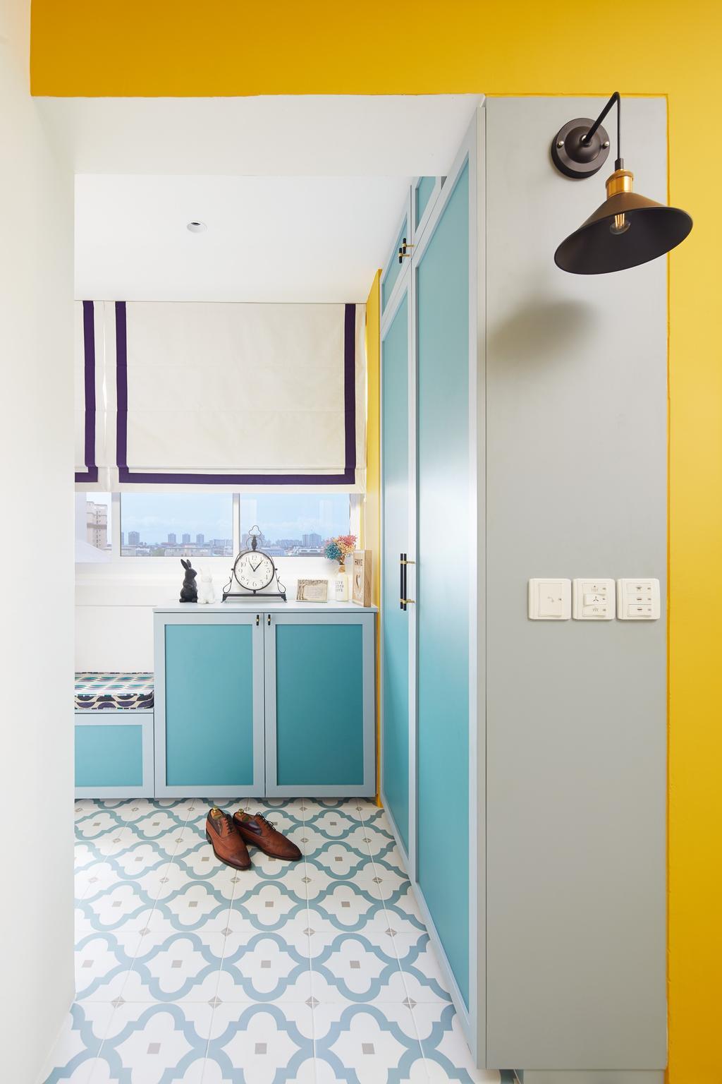 Vintage, HDB, Kitchen, Lengkok Tiga, Interior Designer, Black N White Haus, Geometric Flooring, Patterned Tiles, Colourful, Blue, Shoe Cabinet, Doorway, Foyer