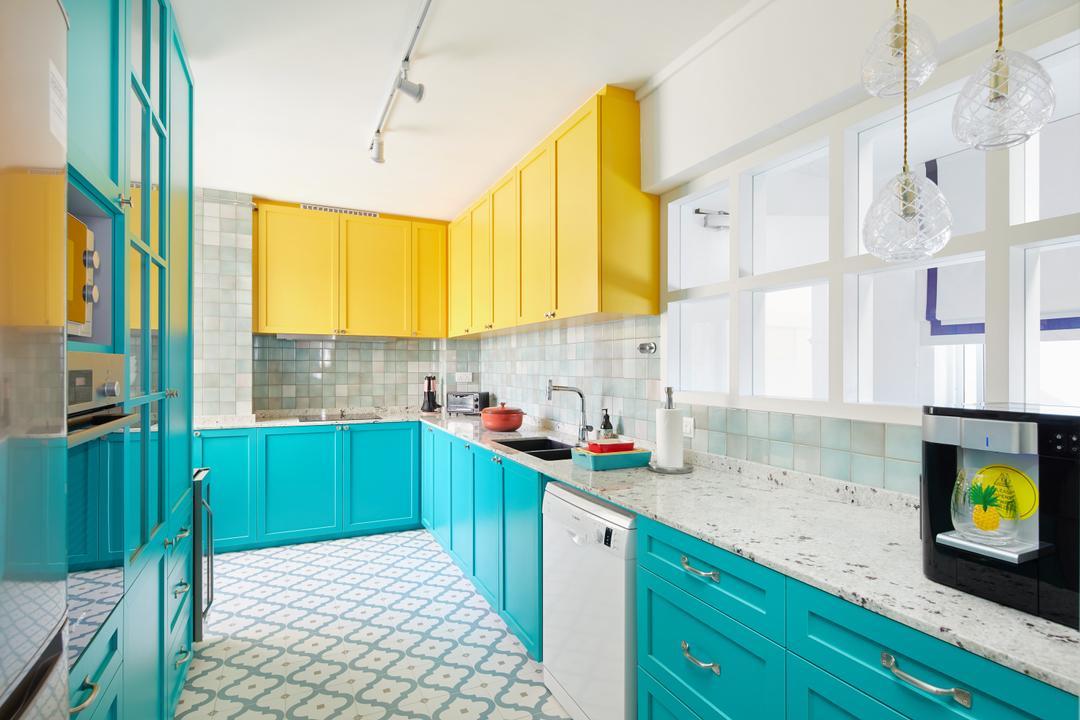 Lengkok Tiga, Black N White Haus, Vintage, Kitchen, HDB, Blue, Yellow, Turquoise