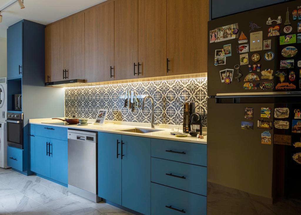 Modern, HDB, Kitchen, Jalan Membina, Interior Designer, Briey Interior, Scandinavian, Blue