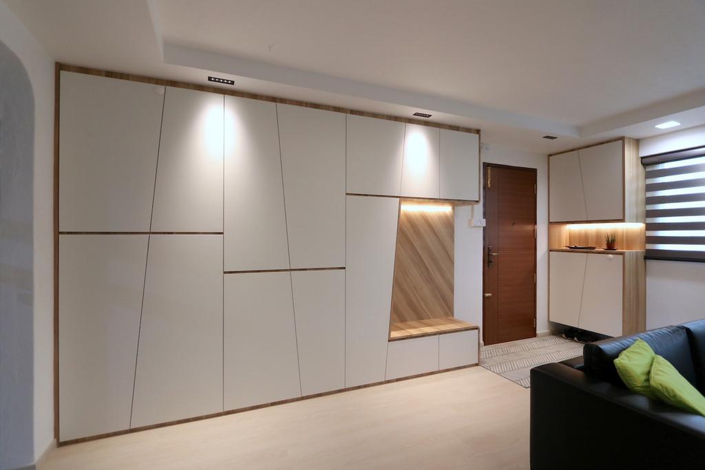 Minimalistic, HDB, Living Room, Hougang Avenue 8, Interior Designer, D'Phenomenal