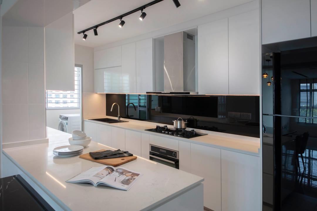 Henderson, The Safe Haven Interiors, Contemporary, Kitchen, HDB, Open Kitchen Concept, Open Kitchen, Monochrome, Galley