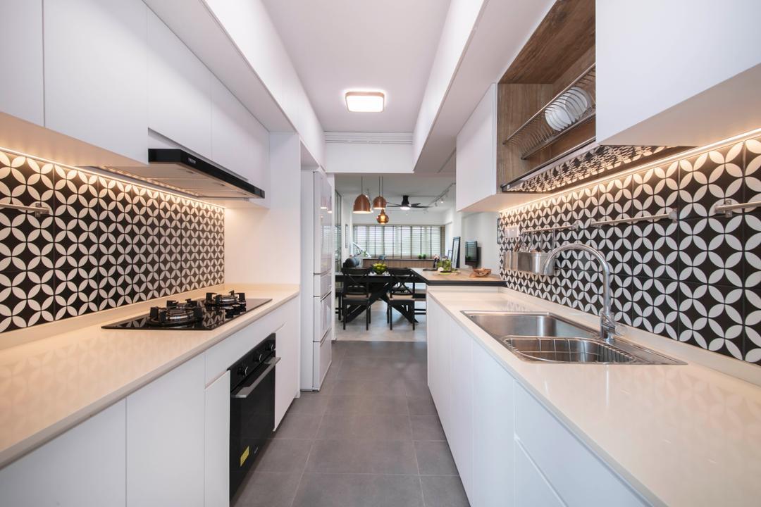 Bedok Reservoir View, The Safe Haven Interiors, Contemporary, Modern, Kitchen, HDB, Backsplash