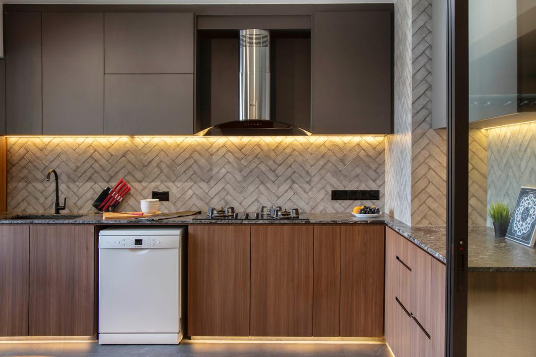 Canberra Crescent, The Safe Haven Interiors, Contemporary, Kitchen, HDB, Backsplash, Tiles