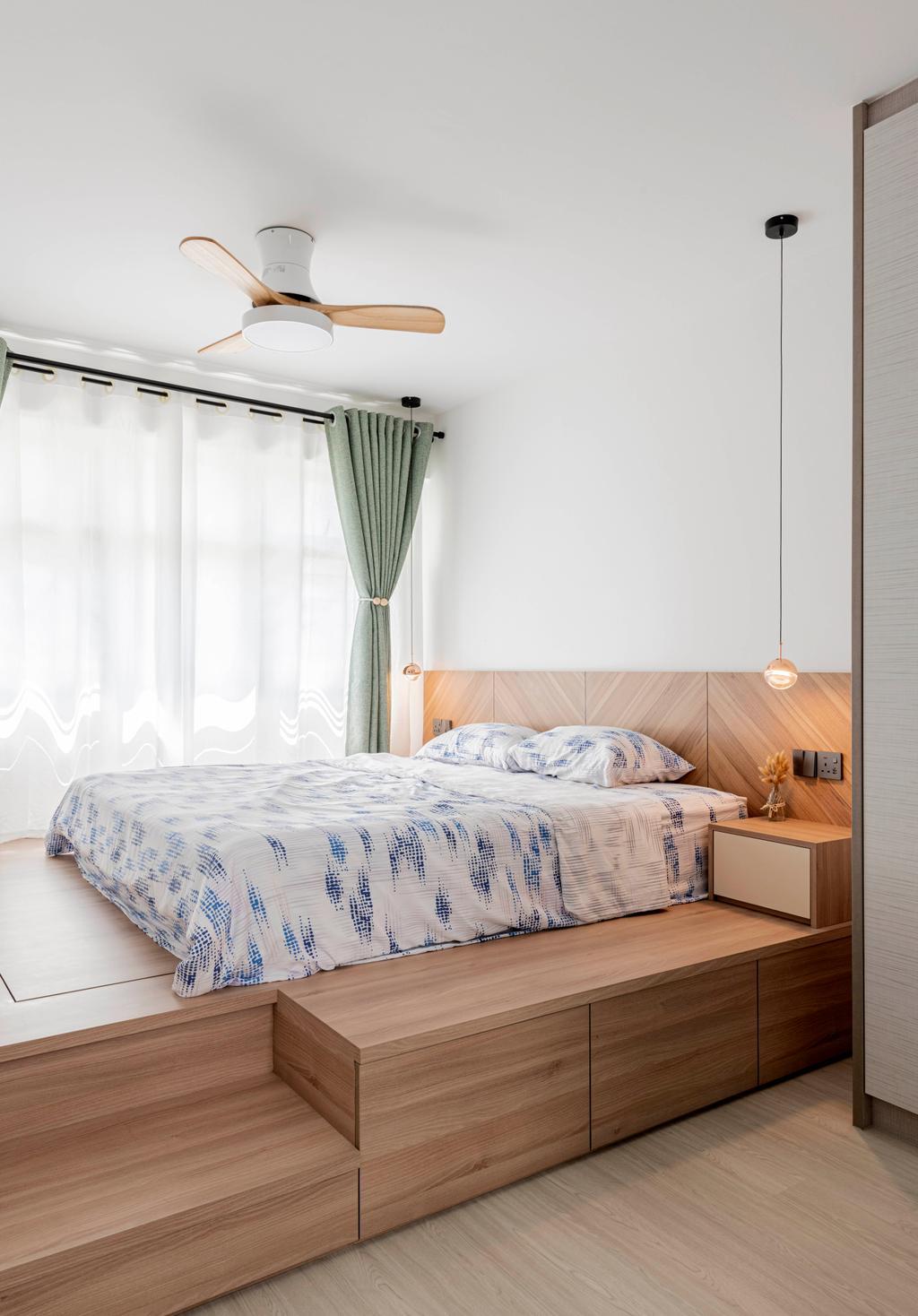 Modern, HDB, Bedroom, Yishun Avenue 1, Interior Designer, Stylemyspace, Contemporary, Platform Bed, Storage Bed