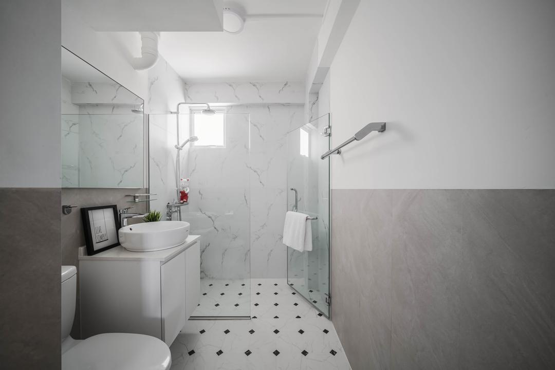 Holland Drive, Ethereall, Contemporary, Bathroom, HDB, Monochrome, White And Grey
