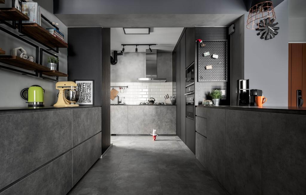Industrial, HDB, Kitchen, Canberra Street, Interior Designer, Ethereall, Contemporary, Galley