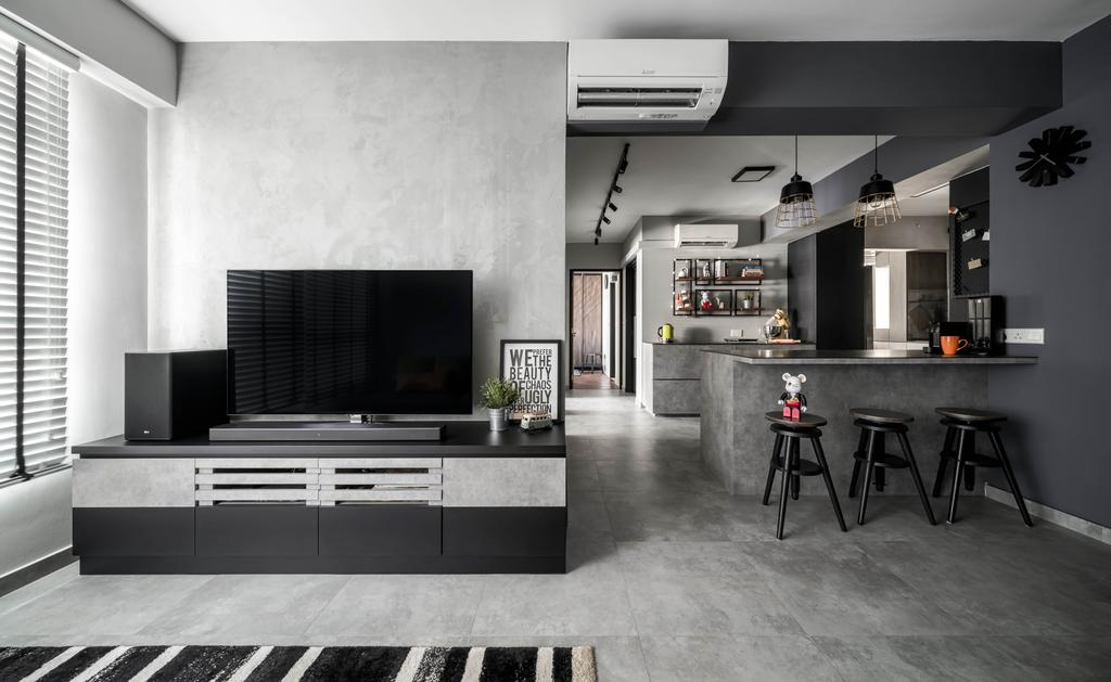 Industrial, HDB, Living Room, Canberra Street, Interior Designer, Ethereall, Contemporary, Open Kitchen, Open Layout, Grey