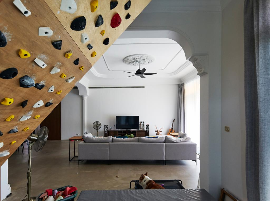 Industrial, Condo, Maplewoods, Interior Designer, The Interior Lab, Rock Climbing Wall, Rock Wall, Fitness, Workout, Exercise
