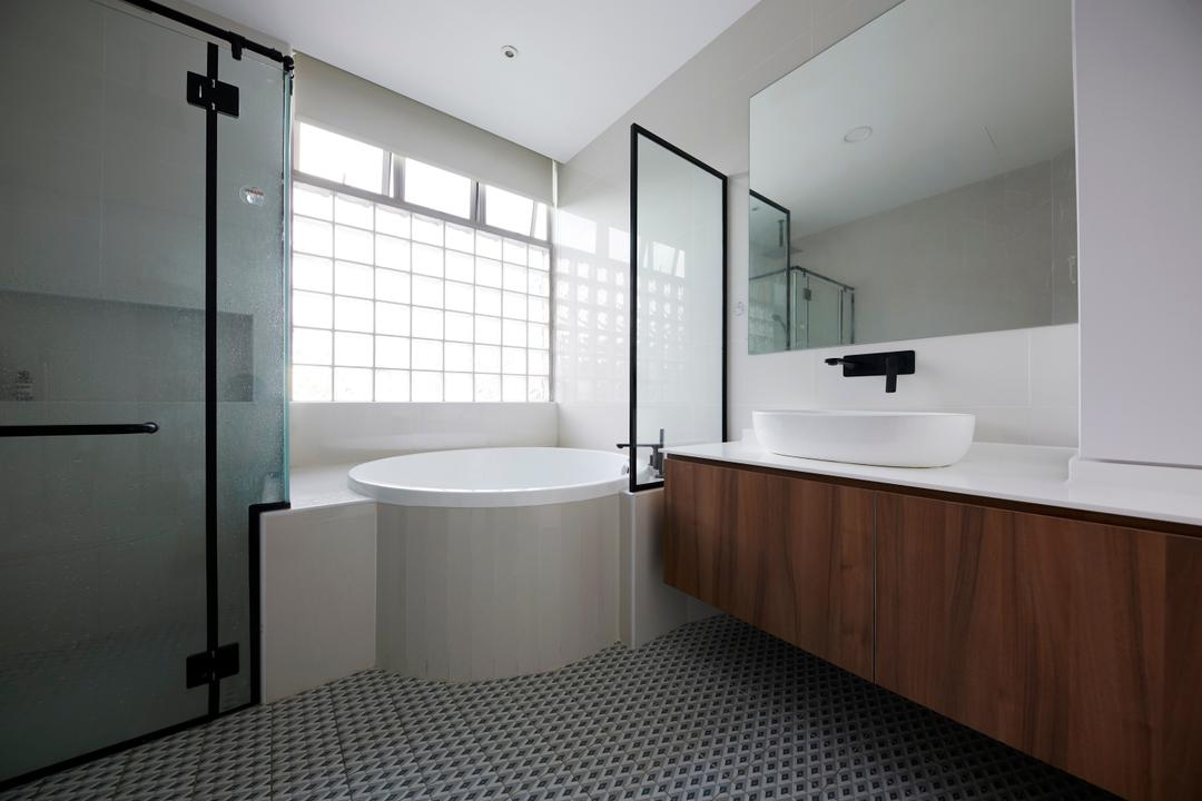Maplewoods, The Interior Lab, Industrial, Bathroom, Condo, Bathtub, Bath Tub