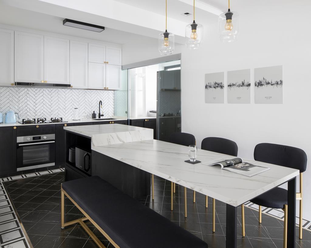 Contemporary, HDB, Kitchen, Tampines North Drive 1, Interior Designer, Fifth Avenue Interior, Kitchen Island, Open Kitchen, Counter