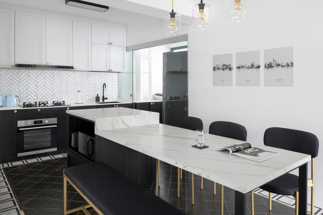 Tampines North Drive 1, Fifth Avenue Interior, Contemporary, Kitchen, HDB, Kitchen Island, Open Kitchen, Counter