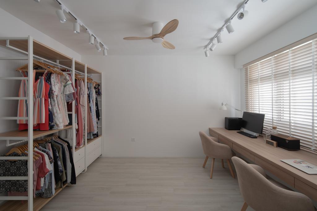 Scandinavian, HDB, Bedroom, Circuit Road, Interior Designer, Arche Interior, Walk In Wardrobe, Open Wardrobe, Pole System