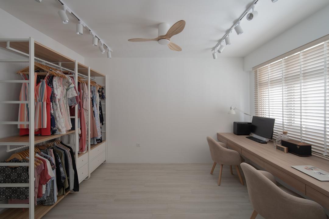 Circuit Road, Arche Interior, Scandinavian, Bedroom, HDB, Walk In Wardrobe, Open Wardrobe, Pole System