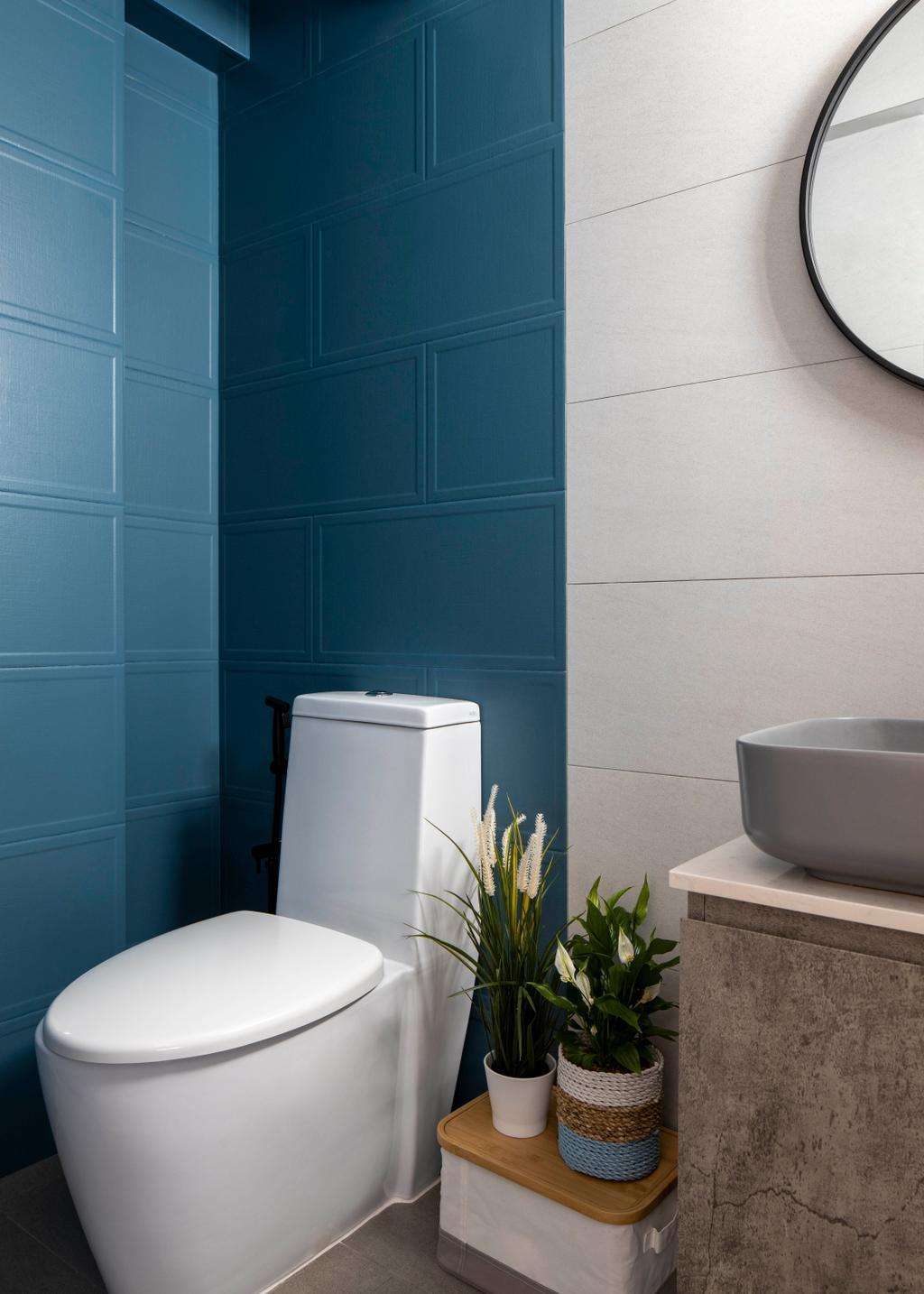Minimalistic, HDB, Bathroom, Potong Pasir Avenue 1, Interior Designer, Adroit ID, Blue