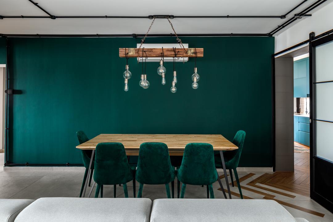 Sengkang East Way, Jialux Interior, Contemporary, Dining Room, HDB, Green, Teal
