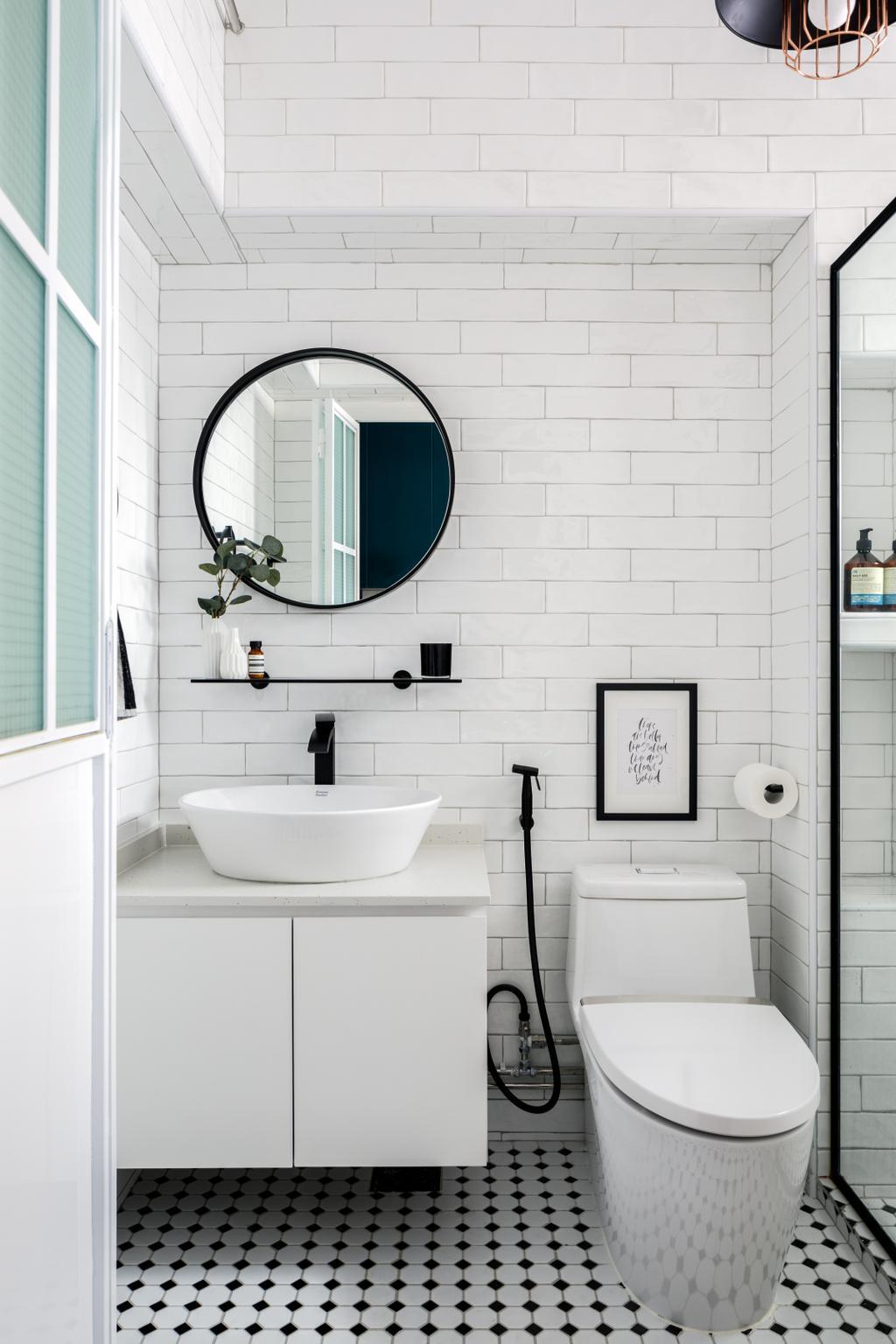 Contemporary, HDB, Bathroom, Sengkang East Way, Interior Designer, Jialux Interior, All White, Black And White, Monochrome