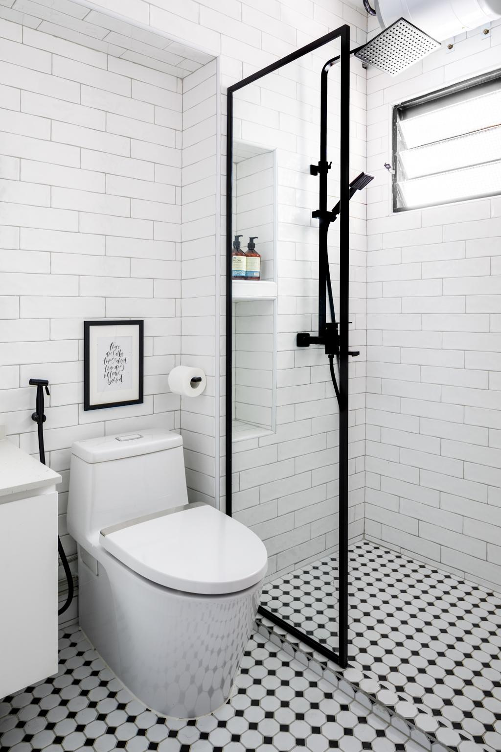 Contemporary, HDB, Bathroom, Sengkang East Way, Interior Designer, Jialux Interior, Black And White, Monochrome, Colonial, Graphic Tiles
