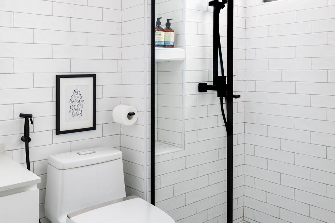 Sengkang East Way, Jialux Interior, Contemporary, Bathroom, HDB, Black And White, Monochrome, Colonial, Graphic Tiles