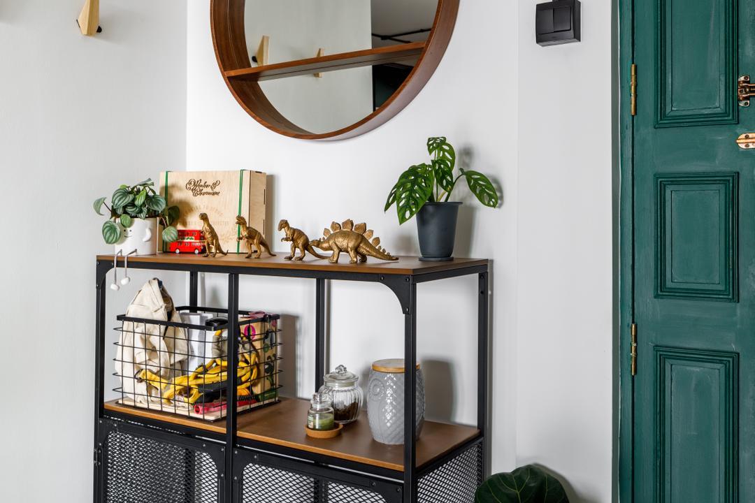 Sengkang East Way, Jialux Interior, Contemporary, Living Room, HDB, Entrance, Foyer, Houseplants