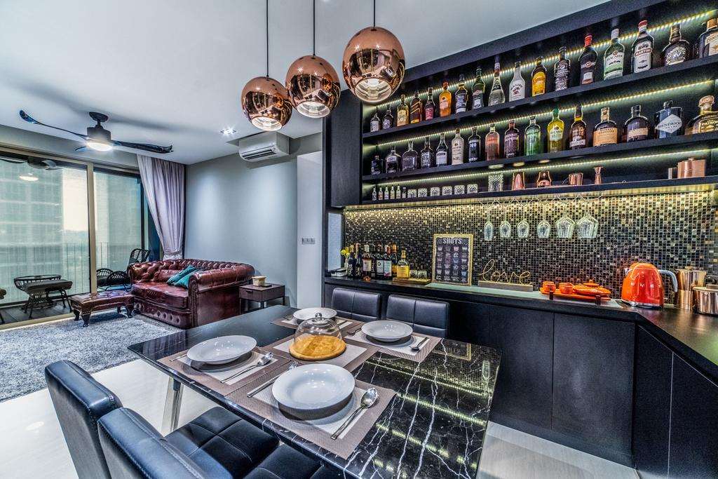 Contemporary, HDB, Dining Room, Sol Acres, Interior Designer, Jialux Interior, Collection, Collectibles, Wine, Bar, Alcohol, Display, Storage