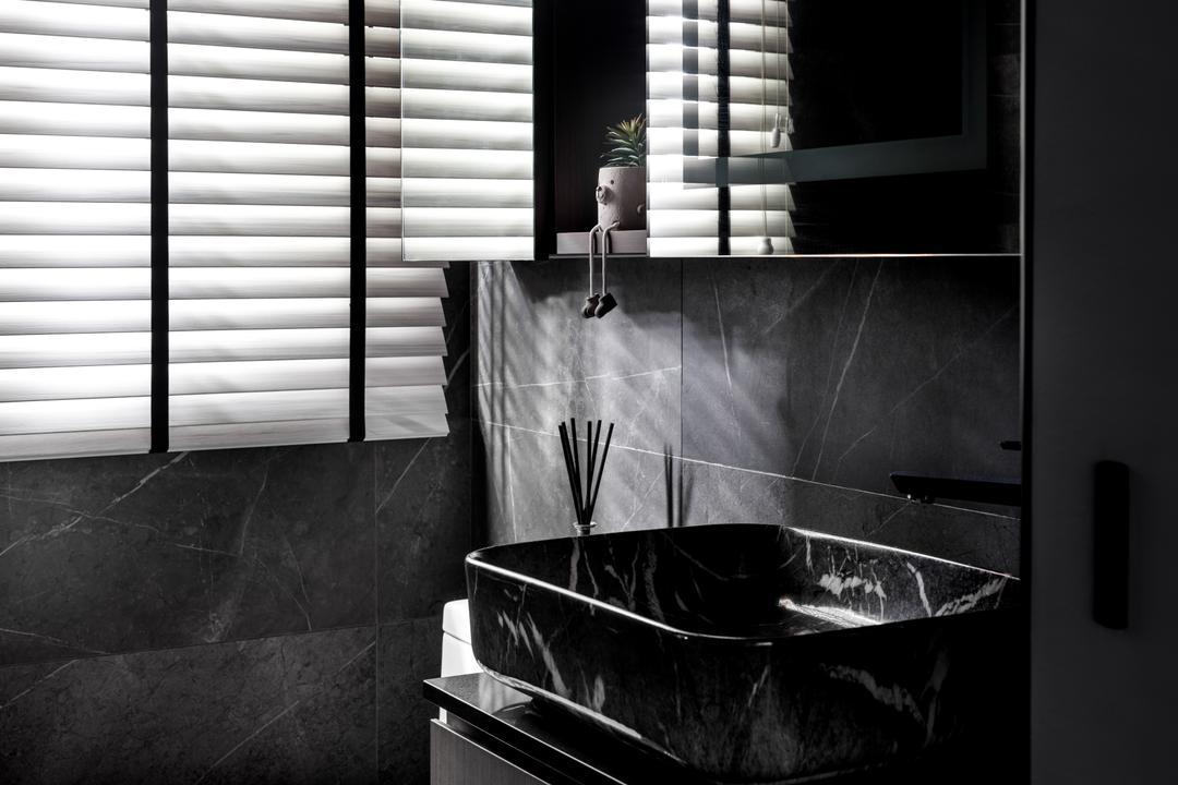 Buangkok Link, Jialux Interior, Contemporary, Bathroom, HDB, Black, Dark