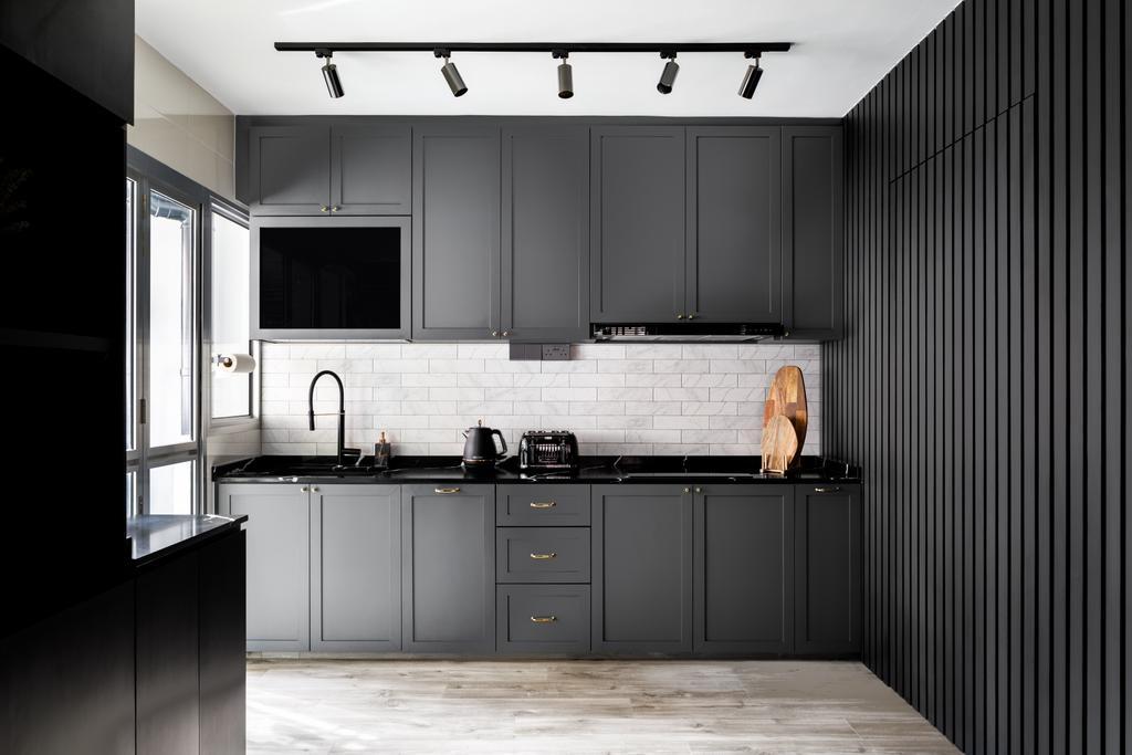 Contemporary, HDB, Kitchen, Buangkok Link, Interior Designer, Jialux Interior, Black, Monochrome, Shaker Style, Farmhouse