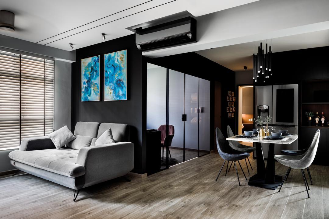 Buangkok Link, Jialux Interior, Contemporary, Living Room, HDB, Open Concept, Dark