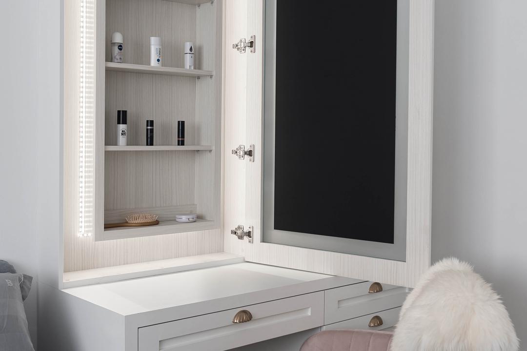 Clementi Avenue 4, Lemonfridge Studio, Scandinavian, Bedroom, HDB, Vanity, Hidden Storage