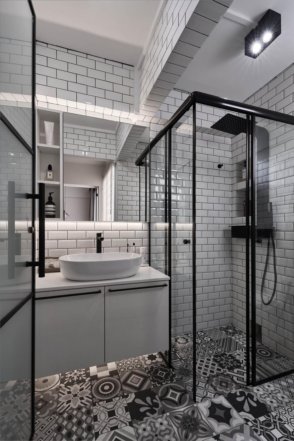 Scandinavian, HDB, Bathroom, Clementi Avenue 4, Interior Designer, Lemonfridge Studio, Monochrome, Black And White, Graphic Tiles