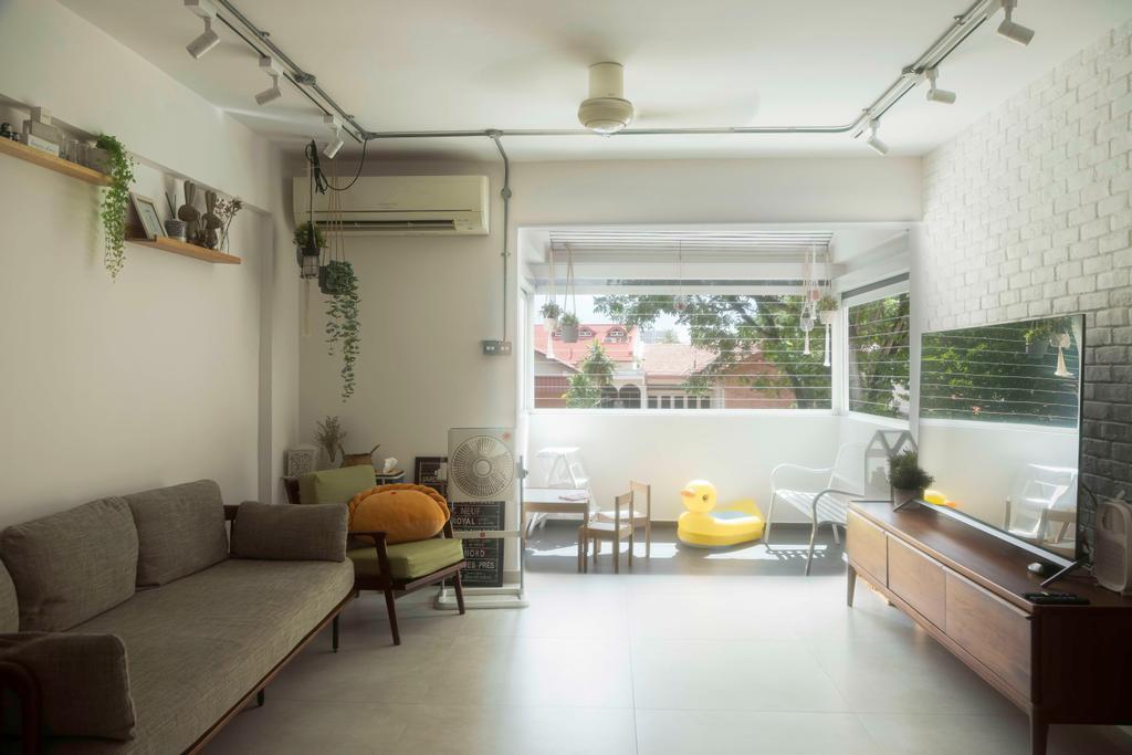 Retro, HDB, Living Room, Hougang Avenue 5, Interior Designer, Ascend Design
