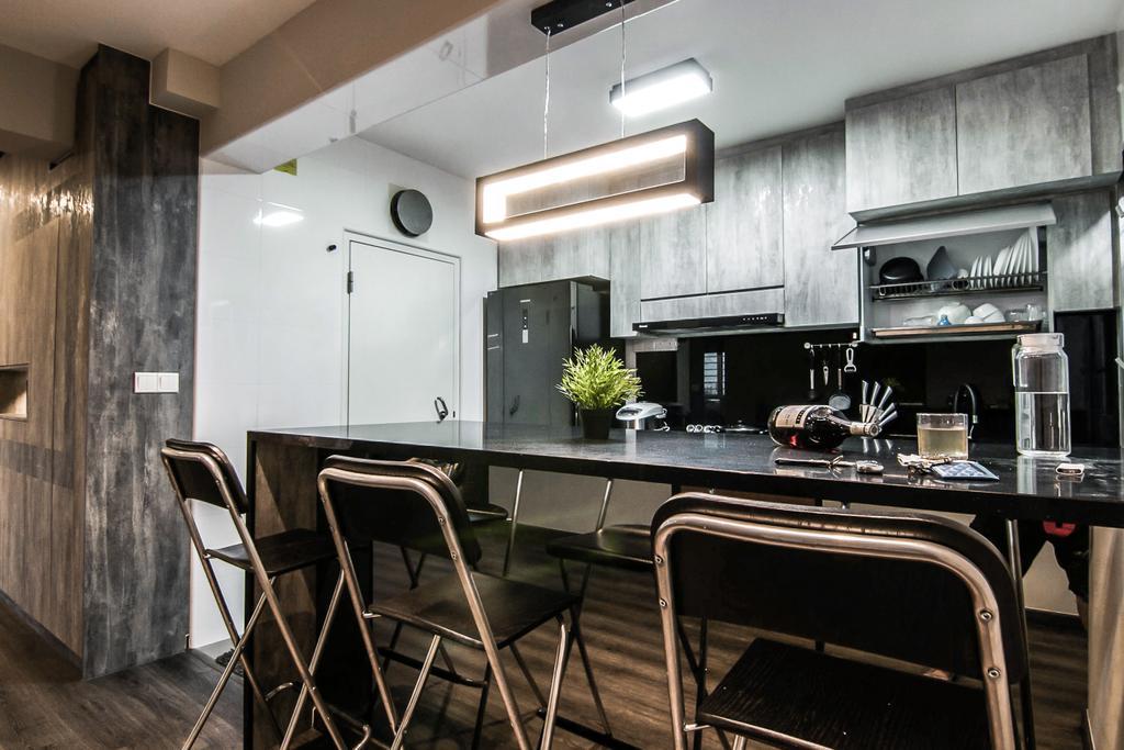 Contemporary, HDB, Kitchen, Jalan Tenteram, Interior Designer, 9 Creation, Modern