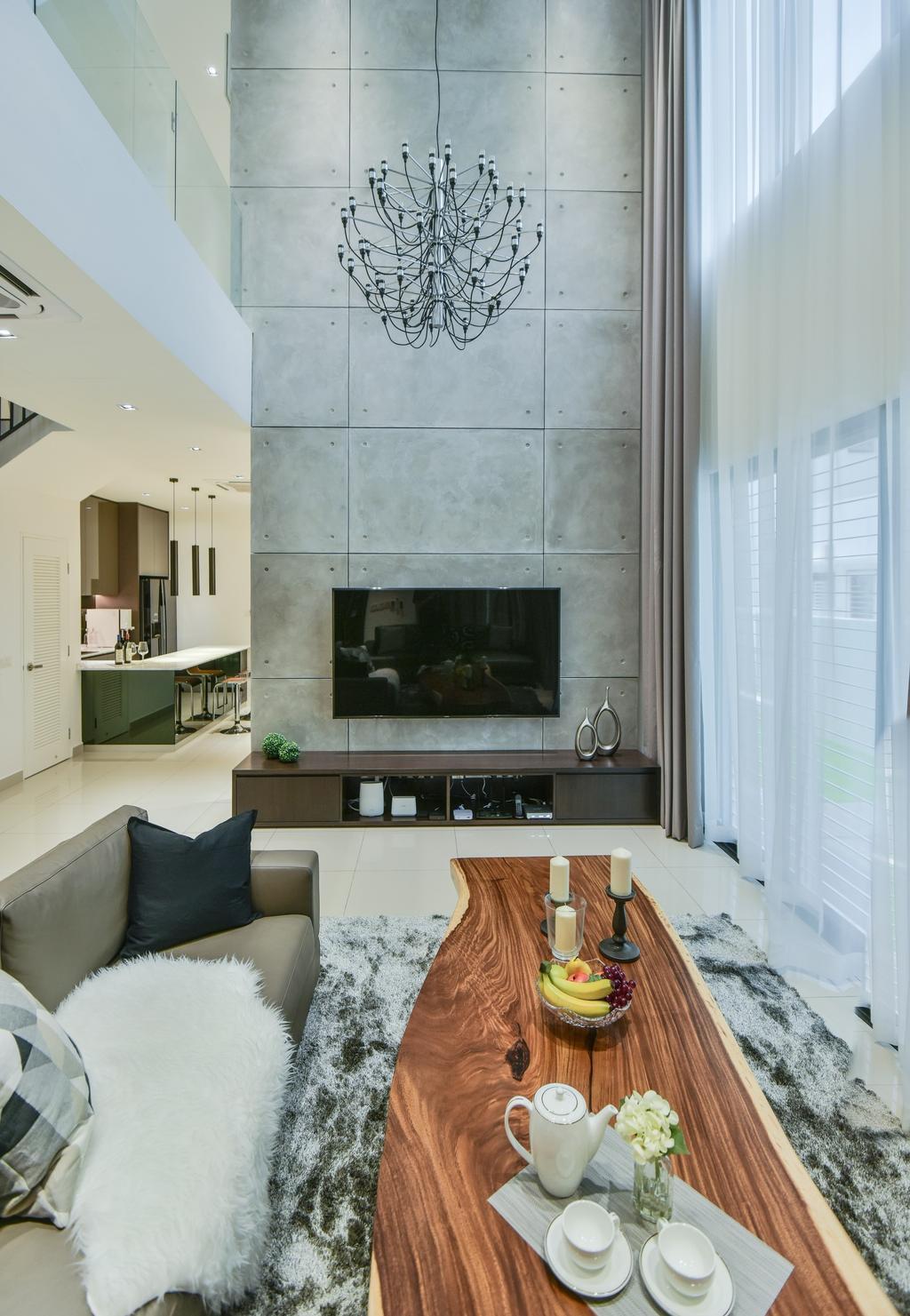 Modern, Landed, Living Room, Setia Alam, Interior Designer, Surface R Sdn. Bhd., Contemporary