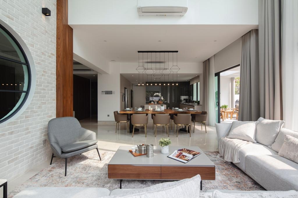 Modern, Landed, Living Room, Alam Impian, Setia Alam 2, Interior Designer, Surface R Sdn. Bhd., Contemporary