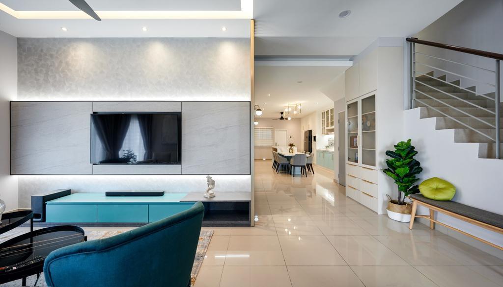 Modern, Landed, Living Room, Taman Desiran Bayu, Puchong, Interior Designer, Klaasmen Sdn. Bhd.