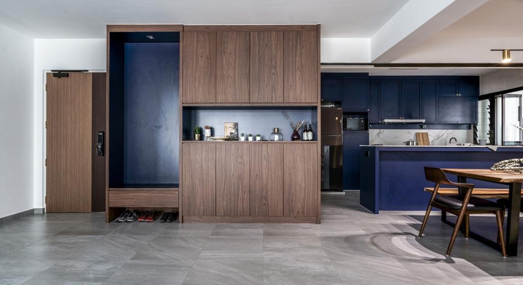 Contemporary, HDB, Living Room, Sengkang West Road, Interior Designer, Couple Abode, Shoe Cabinet, Settee, Shoe Storage, Foyer, Entrance, Db Box