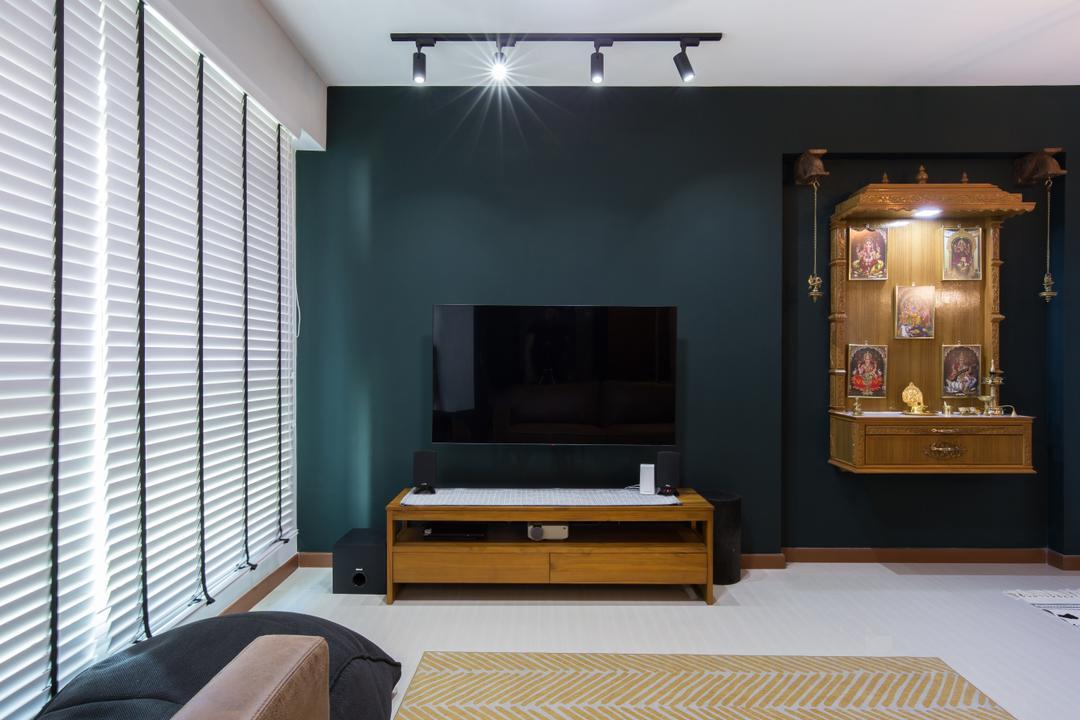 Canberra Street, Home Access Interior, Contemporary, Living Room, HDB, Altar, Green