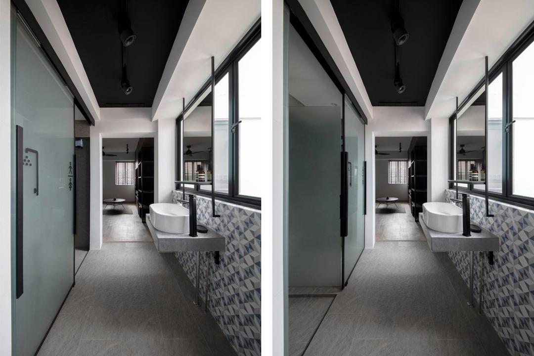 bathroom layout HDB retro BTO