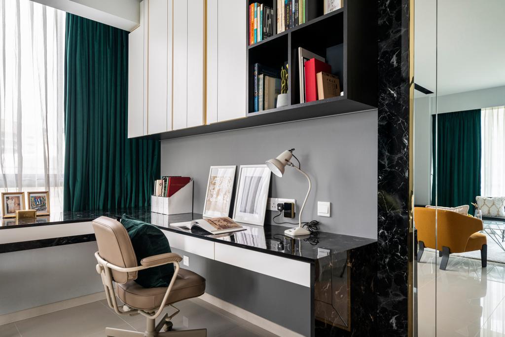 Contemporary, Condo, Study, One North Residences, Interior Designer, Livspace
