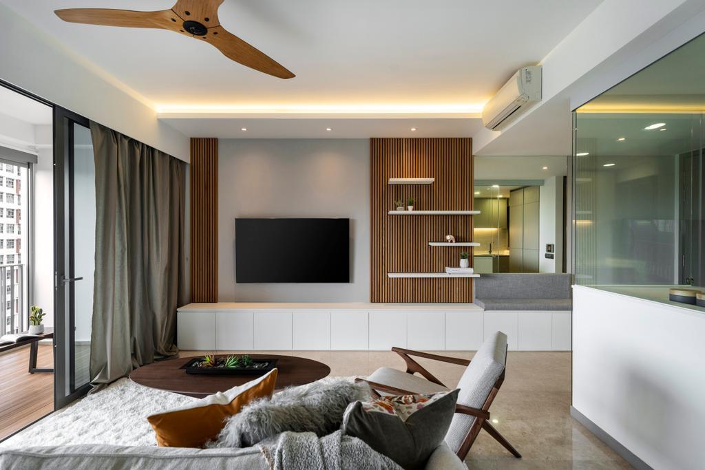 Contemporary, Condo, Living Room, The Riversails, Interior Designer, Livspace