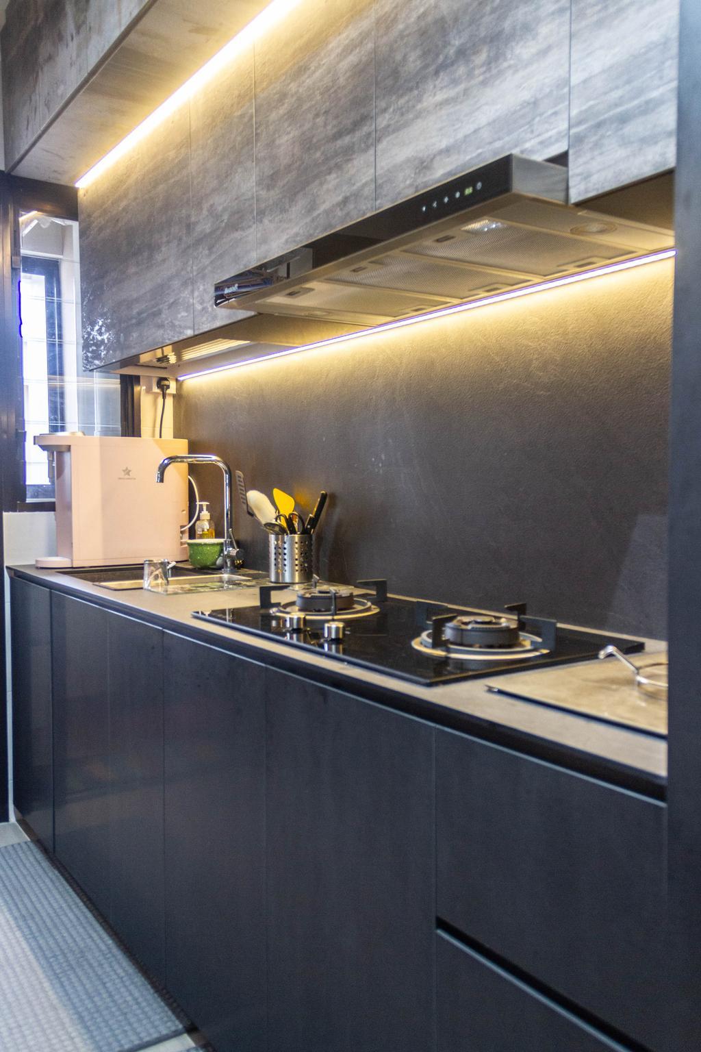Contemporary, HDB, Kitchen, Sengkang West Road, Interior Designer, Orange Interior