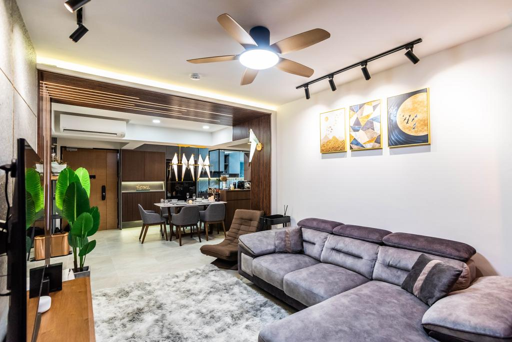 Contemporary, HDB, Living Room, Bidadari Park Drive, Interior Designer, Orange Interior
