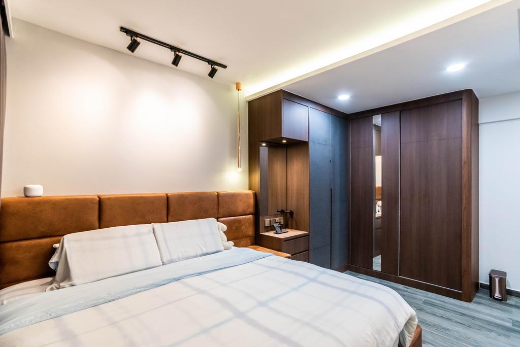 Contemporary, HDB, Bedroom, Bidadari Park Drive, Interior Designer, Orange Interior