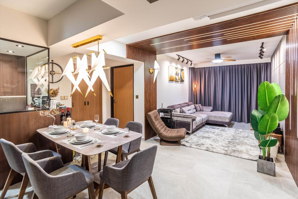 Contemporary, HDB, Dining Room, Bidadari Park Drive, Interior Designer, Orange Interior